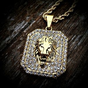14k GP Stainless Steel Iced Out Lion Chain